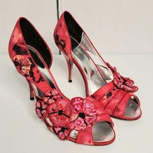 Karen Millen Pink Sequin Floral Peep Toe Heels